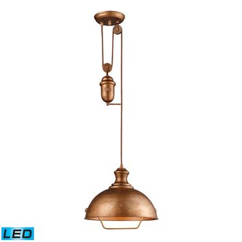 65061-1-LED Farmhouse 1 Light Adjustable LED Pendant In Bellwether Copper