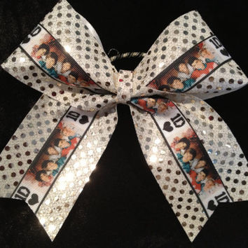 1D One Direction Gold Sparkle Cheer/Cheerleading/Dance Bow Ribbon