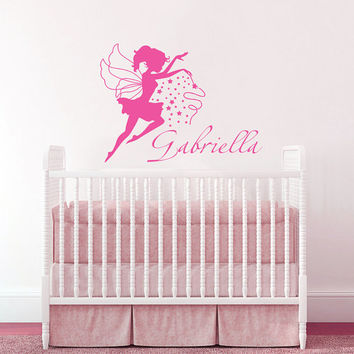 Wall Decal Name Girls Vinyl Sticker Personalized Custom Decals Art Home Decor Mural Magical Fairy Stars Princess Wall Decals Nursery AN333