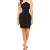 JVN by Jovani Bead Outlined Backless Dress | Dillards