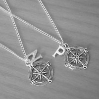 ON SALE set of 2 Compass with Monogram letter initial name, Best Friend Necklaces, Sisters,  friendship Gift