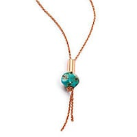 ginette ny - Fallen Sky Turquoise & 18K Rose Gold Bead Necklace - Saks Fifth Avenue Mobile