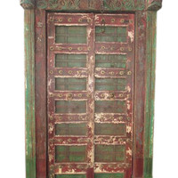 Antique Green Teak Doors Krishna Hand Carved Double Door With Frame