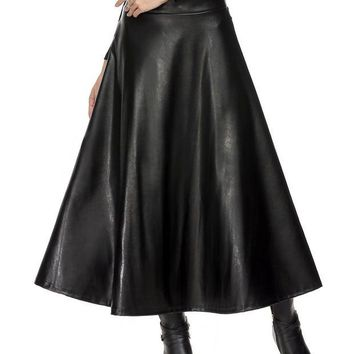 LMFET7 Long Skirts Womens Summer Hight Waist Maxi Skirt PU Leather Slim Spring Autumn Vintage Fashion Pleated Swing Skirt Black