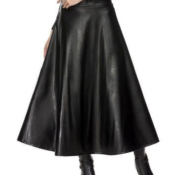 DCCKDZ2 Long Skirts Womens Summer Hight Waist Maxi Skirt PU Leather Slim Spring Autumn Vintage Fashion Pleated Swing Skirt Black