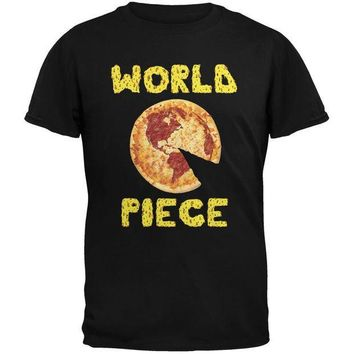 PEAPGQ9 Pizza World Piece Black Adult T-Shirt