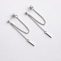 1 pc Korea KPOP BTS After Hanging Type Tassel Strip Stainless Steel Stud Earrings For Women and men Fashion Jewelry