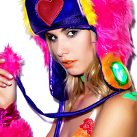 J Valentine Happy Heart Faux Fur Hat One
