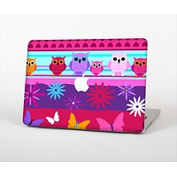 """The Bright Pink Cartoon Owls with Flowers and Butterflies Skin Set for the Apple MacBook Air 13"""""""