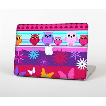 The Bright Pink Cartoon Owls with Flowers and Butterflies Skin Set for the Apple MacBook Air 13""