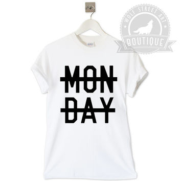 Monday One Direction T Shirt Unisex Top - Pinterest Tumblr Instagram Blogger T-Shirt S-XXL Christmas Slogan Gift Black White Niall Horan