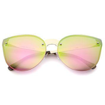 Oversize Rimless Cat Eye Shield Mirror Lens Sunglasses A442