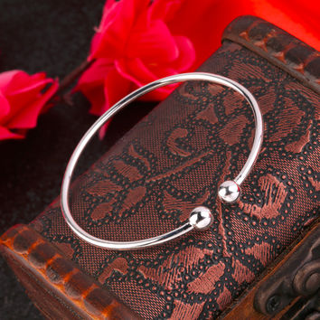 Girl Silver Plated Alloy Bangle Bracelet Open Cuff Simple Jewelry