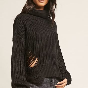 Distressed Sweater-Knit Top