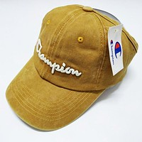 Champion Fashionable Women Men Embroidery Sports Sun Hat Baseball Cap Hat Yellow