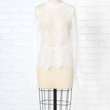 White Sheer Lace Blouse