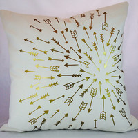 LINEN -Gold metallic arrows spinning toward a target on a toss pillow slipcover on ivory medium weight linen sold with or without the insert