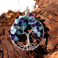 Aquamarine Apetite and Amethyst Tree of Life Pendant--- Pendant On Sterling Silver Chain Wire Wrapped Semi Precious Gemstone Jewelry