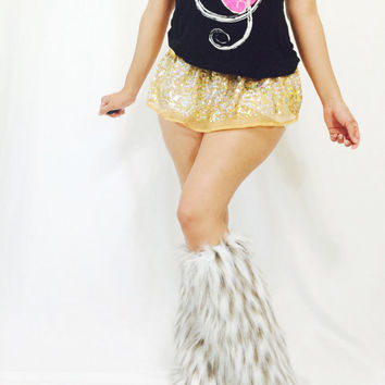 Gold  sequins mini skirt and fluffies / EDC / TomorrowWorld / Dancer / Gogo dance / Dance Wear / Exotic Wear