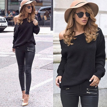 Long Sleeve Round-neck Pullover Knit Tops Sweater [6372873540]