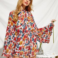Knot Backless Bell Sleeve Blouson Romper