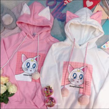 Exclusive custom Sailor Moon cat hooded  ear Sweatshirts