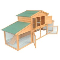 Pawhut 91 Wooden Two Story Small Animal Cage Guinea Pig Rabbit Hutch Chicken Coop - Walmart.com