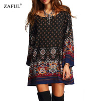 Women Dress Summer Casual Printed Round Neck Long Sleeve Woman Tunic Dresses