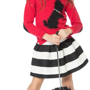 Deux Par Deux Music Hall 3pc Sweater, Skirt & Socks Set (sz 2-6)