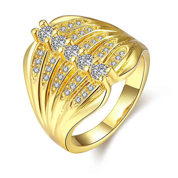 18k gold plated rings Five rows of crystal anel fine jewelry