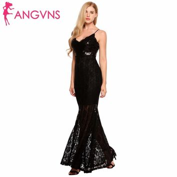 ANGVNS Women Sequin Sexy Deep V-Neck Vestidos Strappy Backless Hollow Lace Long Maxi Mermaid Party Dress Evening Gowns De Fiesta