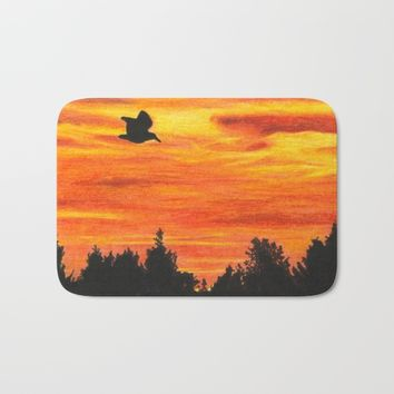Sunset with bird Bath Mat by Savousepate