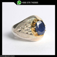 Sterling Silver Blue Sapphire Men Ring Persian Antique Design Genuine Gemstone Size 10 (Re-sizing is available for free)