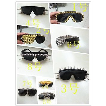 Vazrobe Spiked Glasses Rock Sunglasses Rivet Party/show/wedding/hip Hop Decorative Novelty Eyewear Gold/silver Spikes Steampunk