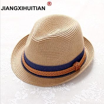 Summer Jazz Women Straw Hat Beach Men Sun Hat Casual Panama Male Cap Hemp Rope Patchwork Striped Straw Hat Visor Cap