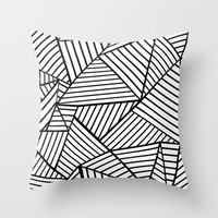 Abstraction Lines Close Up Black and White Throw Pillow by Project M | Society6