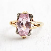 Vintage Art Deco 14k Yellow Gold Pink Sapphire Ring - Size 7 Light Pink Gemstone Jewelry, White Gold Flower Accents