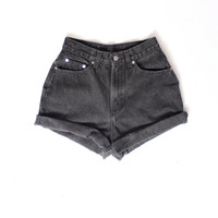 ALL SIZES Rolled Up BLACK Vintage High Waisted Shorts