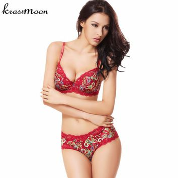 Retro Peacock print young women bra set D Cup big size,sexy intimates lace bra brief set bras push up and lingerie set 235