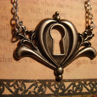 Victorian Steampunk Ornate Key Hole Necklace by CreepyCreationz2