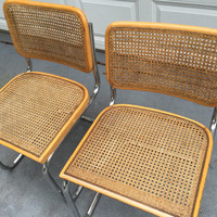 ITALIAN CANTILEVER CANE Pair of Chairs His and Hers Cantilever Chairs Chrome and Cane Mid Century at Modern Logic