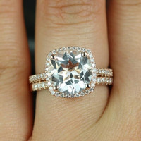 Barra Queen Size 14kt Rose Gold Thin White Topaz and Diamonds Cushion Halo Wedding Set (Other metals and stone options available)