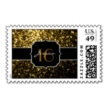 Beautiful Yellow Gold sparkles Sweet 16 Stamps
