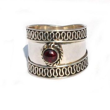 Sterling Silver Sin Wave Edge Wide Bali Genuine Garnet Ring