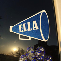 Personalized Cheer Megaphone Car Decal / Sticker