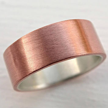 mens wedding ring, copper wedding band, mens ring silver copper, rustic wedding band, silver copper ring, rustic mens ring anniversary gift