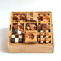 Wooden game, Puzzle box , 9 Puzzle Box Games Set ,Games & Puzzles, Christmas Gift.