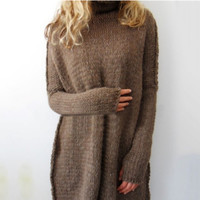 Women Fashion Autumn and Winter Casual Gray Irregular Pullover Turtleneck Sweater Coffee