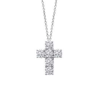Lafonn Classic Sterling Silver Platinum Plated Lassire Simulated Diamond Necklace (1.5 CTTW)