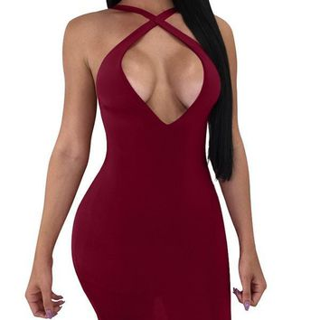 Burgundy Cross Tie Back Bodycon Clubwear Multi Way Lace-up Party Mini Dress